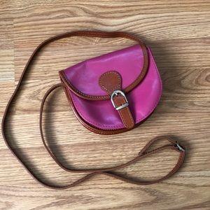 Vera Pelle Italian Leather Pink Crossbody Bag